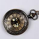 baratos Chaveiros-Casal Relógio de Bolso Quartzo Preta / Dourada Gravação Oca Relógio Casual Legal Analógico senhoras Luxo Casual - Preto Dourado