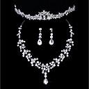 Χαμηλού Κόστους Σετ Κοσμημάτων-Γυναικεία Σετ Κοσμημάτων Κλασσικό Προσομειωμένο διαμάντι Σκουλαρίκια Κοσμήματα Ασημί Για Γάμου Πάρτι