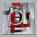 baratos Design Circular-Pintura a Óleo Pintados à mão - Abstrato Modern Sem armação interna / Lona Laminada