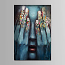 cheap Abstract Paintings-Oil Painting Hand Painted - People Comtemporary Simple Modern Stretched Canvas