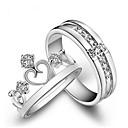 billiga Moderingar-Par Parringar Princess Crown Ring Diamant Kubisk Zirkoniumoxid liten diamant 2pcs Vit Koppar Mode Bröllop Gåva Smycken Krona