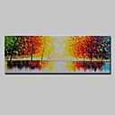 baratos Pinturas Abstratas-Pintura a Óleo Pintados à mão - Paisagem Rústico Incluir moldura interna / Lona esticada