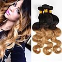 お買い得  カラー・ヘアエクステンション-3バンドル 4バンドル ブラジリアンヘア ウェーブ バージンヘア オンブル' 10-20 インチ オンブル' 人間の髪織り 8a 人間の髪の拡張機能 / 10A