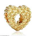 Χαμηλού Κόστους Χάντρες-DIY Κοσμήματα 1 τεμ Ștrasuri Κράμα Χρυσό Ασημί Καρδιά Χάντρα 0.2 cm DIY Κολιέ Βραχιόλια
