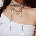 billiga Modehalsband-Dam Chokerhalsband Långt halsband Multi lager damer Multi lager Diamantimitation Silver Halsband Smycken Till Party Gåva