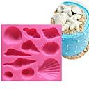 זול עוגיות כלי-ים יפה קונכייה קונכייה סיליקון 3d עובש לא מקל עוגה פונדנט