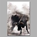 Χαμηλού Κόστους Πίνακες με Ζώα-Hang-ζωγραφισμένα ελαιογραφία Ζωγραφισμένα στο χέρι - Ζώα Μοντέρνα Χωρίς Εσωτερικό Πλαίσιο / Κυλινδρικός καμβάς