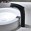 billiga Tvättställsblandare-Badrum Tvättställ Kran - Utbredd svart Centerset Singel Handtag Ett hålBath Taps