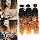 billige Hårfletter-3 pakker 4 pakker Brasiliansk hår Kinky Curly Ekte hår Nyanse 10-26 tommers Nyanse Hårvever med menneskehår Hot Salg Hairextensions med menneskehår / 10A / Kinky Krøllet