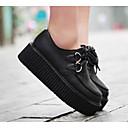 ราคาถูก รองเท้าแตะและรองเท้าโลฟเฟอร์สำหรับผู้หญิง-สำหรับผู้หญิง รองเท้า Oxfords รองเท้าบู้ทส้นเตารีด PU ความสะดวกสบาย ฤดูใบไม้ผลิ / ตก ขาว / สีดำ / EU39