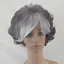 Χαμηλού Κόστους Συνθετικές περούκες χωρίς σκουφί-Συνθετικές Περούκες Σγουρά Σγουρά Κούρεμα με φιλάρισμα Περούκα Κοντό Γκρι Συνθετικά μαλλιά Μαλλιά με ανταύγειες Γκρι hairjoy