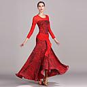 رخيصةأون ملابس الحفلات الراقصة-Ballroom Dance الفساتين للمرأة أداء تول حرير الثلج نموذج / طباعة كم طويل ارتفاع عال فستان