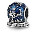 Χαμηλού Κόστους Χάντρες-DIY Κοσμήματα 1 τεμ Ștrasuri Κράμα Βαθυγάλαζο Κύλινδρος Χάντρα 0.5 cm DIY Κολιέ Βραχιόλια