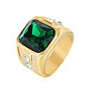 ราคาถูก เข็มกลัด-สำหรับผู้ชาย คำชี้แจง Ring แหวนตรา Cubic Zirconia แดง สีเขียว ฟ้า เหล็กกล้าไร้สนิม เพทาย แฟชั่น งานแต่งงาน ปาร์ตี้ เครื่องประดับ เล่นไพ่คนเดียว Emerald Cut