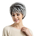 cheap Human Hair Capless Wigs-Synthetic Wig Straight Straight With Bangs Wig Short Grey Synthetic Hair Women's Ombre Hair Side Part Black White MAYSU