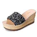 ราคาถูก รองเท้าแตะ & Flip-Flops ผู้หญิง-สำหรับผู้หญิง รองเท้าแตะและรองเท้าแตะ รองเท้าส้นตึก PU ความสะดวกสบาย ฤดูใบไม้ผลิ / ตก สีดำ / สีเงิน