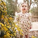 billige Babydrakter-Baby Jente Enkel / Vintage Daglig Ensfarget / Blomstret Kortermet Normal Normal Bomull / Lin / Bambus Fiber Kjole Rosa