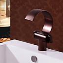 Χαμηλού Κόστους Βρύσες Νιπτήρα Μπάνιου-Μπάνιο βρύση νεροχύτη - Καταρράκτης Λαδωμένο Μπρούντζινο Αναμεικτικές με ενιαίες βαλβίδες Δύο λαβές μια τρύπαBath Taps / Ορείχαλκος
