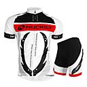 ราคาถูก ชุดเซทปั่นจักรยาน-Nuckily สำหรับผู้ชาย แขนสั้น Cycling Jersey with Shorts ขาว จักรยาน กางเกงขาสั้น เสื้อยืด ชุดออกกำลังกาย กันน้ำ ระบายอากาศ Ultraviolet Resistant ซิปกันน้ำ แถบสะท้อนแสง กีฬา เส้นใยสังเคราะห์ Elastane