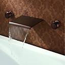 billiga Tvättställsblandare-Badrum Tvättställ Kran - Vattenfall Oljeaktig Brons Hål med bredare avstånd Två handtag tre hålBath Taps / Mässing