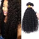 billiga Förslutning ochframsida-4 paket Brasilianskt hår Kinky Curly Äkta hår Human Hår vävar 8-28 tum Hårförlängning av äkta hår Människohår förlängningar / 8A / Sexigt Lockigt