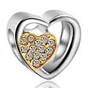 Χαμηλού Κόστους Χάντρες-DIY Κοσμήματα 1 τεμ Ștrasuri Προσομειωμένο διαμάντι Κράμα Κίτρινο Βαθυγάλαζο Καρδιά Χάντρα 0.2 cm DIY Κολιέ Βραχιόλια