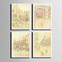 Χαμηλού Κόστους Αφηρημένοι Πίνακες-Καμβάς σε Κορνίζα Σετ σε Κορνίζα - Τοπίο Ταξίδια Πλαστικό Εικόνα Wall Art