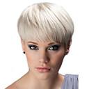 Χαμηλού Κόστους Χωρίς κάλυμμα-Ανθρώπινη Τρίχα Περούκα Ίσιο Κούρεμα νεράιδας Σύντομα Hairstyles 2019 Ίσια Φυσική γραμμή των μαλλιών Μηχανοποίητο Μαύρο Άσπρο Μπεζ Ξανθιά / Bleached Blonde 8 Ίντσες