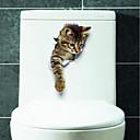 olcso Falmatricák-Állatok Falimatrica 3D-s falmatricák WC-matricák, Vinil lakberendezési fali matrica Toilet