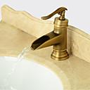 billiga Duschkranar-Badrum Tvättställ Kran - Förskölj / Vattenfall / Utbredd Antik koppar Centerset Singel Handtag Ett hålBath Taps
