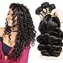 billige Babydrakter-3 pakker Brasiliansk hår Løse bølger Ekte hår Menneskehår Vevet Hårvever med menneskehår Hairextensions med menneskehår / 8A