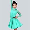 Χαμηλού Κόστους Παιδικά Ρούχα Χορού-Λάτιν Χοροί Φορέματα Κοριτσίστικα Επίδοση Spandex Δαντέλα Δαντέλα Πλισέ Μακρυμάνικο Φόρεμα