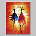 Χαμηλού Κόστους Αφηρημένοι Πίνακες-Hang-ζωγραφισμένα ελαιογραφία Ζωγραφισμένα στο χέρι - Άνθρωποι Μοντέρνα Περιλαμβάνει εσωτερικό πλαίσιο / Επενδυμένο καμβά