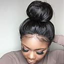 Χαμηλού Κόστους Χωρίς κάλυμμα-Φυσικά μαλλιά Δαντέλα Μπροστά Χωρίς Κόλλα Περούκα στυλ Βραζιλιάνικη Ίσιο Μαύρο Περούκα 130% Πυκνότητα μαλλιών με τα μαλλιά μωρών Φυσική γραμμή των μαλλιών Περούκα αφροαμερικανικό στυλ 100 / Ίσια
