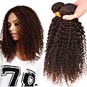 billiga Hårförlängningar i ombre-3 paket Brasilianskt hår Klassisk Kinky Curly Äkta hår Human Hår vävar Hårförlängning av äkta hår Människohår förlängningar / 8A / Sexigt Lockigt