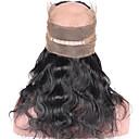 Χαμηλού Κόστους Εξτένσιος μαλλιών με φυσικό χρώμα-ELVA HAIR Βραζιλιάνικη 360 μετωπικής Κυματομορφή Σώματος / Κλασσικά Δωρεάν Μέρος / Μεσαίο τμήμα / 3 Μέρος Ελβετική δαντέλα Φυσικά μαλλιά Καθημερινά