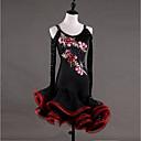 Χαμηλού Κόστους Ρούχα χορού λάτιν-Λάτιν Χοροί Φορέματα Γυναικεία Επίδοση Spandex Ζορζέτα Διακοσμητικά Επιράμματα Κρύσταλλοι / Στρας Μακρυμάνικο Ψηλό Φόρεμα
