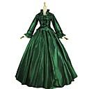 povoljno Stare svjetske nošnje-Vintage Rococo Kostim Žene Izgledi Zeleni i crni Vintage Cosplay Saten Dugih rukava Puf