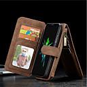 billiga iPhone-fodral-fodral Till Apple iPhone X / iPhone 8 Plus / iPhone 8 Plånbok / Korthållare / Stötsäker Fodral Enfärgad Hårt Äkta Läder