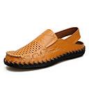 ราคาถูก รองเท้าแตะผู้ชาย-สำหรับผู้ชาย รองเท้าสบาย ๆ หนัง ฤดูร้อน / ฤดูร้อนฤดูใบไม้ผลิ ไม่เป็นทางการ รองเท้าแตะ ระบายอากาศ สีดำ / สีเหลือง / สีน้ำตาล