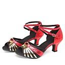 ราคาถูก รองเท้าแบบลาติน-สำหรับผู้หญิง รองเท้าเต้นรำ กำมะหยี่ ลาติน / Salsa ขอบ / Splicing / Color Block รองเท้าแตะ / ส้น ส้นCuban ตัดเฉพาะได้ เงิน / สีดำและสีเงิน / สีดำ / สีแดง / หนังสัตว์