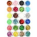 billige Reisevesker-1pc / 1set Artificial Nail Tips Glimmer Paljetter Til 24 farger Neglekunst Manikyr pedikyr Glitrende