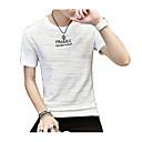 baratos Acessórios Masculinos-Homens Camiseta Moda de Rua Côr Pura / Estampado, Letra Decote Redondo Cinzento / Manga Curta / Longo