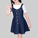 Χαμηλού Κόστους Σακίδια μόδας-Παιδιά Κοριτσίστικα Καθημερινό Καθημερινά Εξόδου Μονόχρωμο Αμάνικο Φόρεμα Θαλασσί