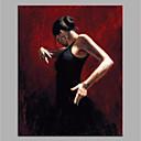 Χαμηλού Κόστους Πίνακες Ανθρώπων-Hang-ζωγραφισμένα ελαιογραφία Ζωγραφισμένα στο χέρι - Αφηρημένο Άνθρωποι Μοντέρνα Χωρίς Εσωτερικό Πλαίσιο / Κυλινδρικός καμβάς