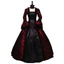 Χαμηλού Κόστους Μαγνητικά τουβλάκια-Rococo Victorian 18ος αιώνας Φορέματα Δαντέλα Στολές Μαύρο / Κόκκινο Πεπαλαιωμένο Cosplay Πάρτι Χοροεσπερίδα Μακρυμάνικο Βραδινή τουαλέτα