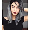 ราคาถูก วิกผมจริง-วิกผมสังเคราะห์ลูกไม้ด้านหน้า Straight ตรง บ๊อบตัดผม มีลูกไม้ด้านหน้า ผมปลอม Short Gray สังเคราะห์ สำหรับผู้หญิง เส้นผมธรรมชาติ Gray