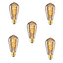 Χαμηλού Κόστους Πυράκτωσης-5pcs 40W E26 / E27 ST64 Θερμό Λευκό 2300k Ρετρό Με ροοστάτη Διακοσμητικό Λαμπτήρας πυρακτώσεως Vintage Edison 220-240V