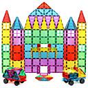 זול בלוקים משולבים-בלוק מגנטי אריחים מגנטיים אבני בניין 60 pcs דגם גיאומטרי גוף שקוף בנים בנות צעצועים מתנות