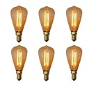 billiga Glödlampa-6pcs 40W E14 ST48 Varmvit 2200-2700 K Kontor/företag Bimbar Dekorativ Glödande Vintage Edison glödlampa 220V-240V V